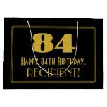 "[ Thumbnail: 84th Birthday — Art Deco Inspired Look ""84"" & Name Gift Bag ]"
