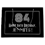 "[ Thumbnail: 84th Birthday — Art Deco Inspired Look ""84"" & Name Gift Bag ]"