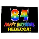 [ Thumbnail: 84th Birthday: Bold, Fun, Simple, Rainbow 84 Gift Bag ]