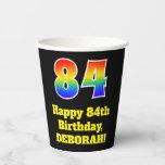 [ Thumbnail: 84th Birthday: Colorful, Fun, Exciting, Rainbow 84 ]