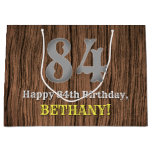 [ Thumbnail: 84th Birthday: Country Western Inspired Look, Name Gift Bag ]
