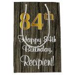 [ Thumbnail: 84th Birthday: Elegant Faux Gold Look #, Faux Wood Gift Bag ]