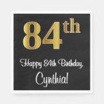 [ Thumbnail: 84th Birthday ~ Elegant Luxurious Faux Gold Look # Napkins ]