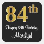 [ Thumbnail: 84th Birthday – Elegant Luxurious Faux Gold Look # Sticker ]