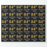 [ Thumbnail: 84th Birthday: Elegant Luxurious Faux Gold Look # Wrapping Paper ]