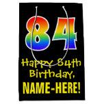 "[ Thumbnail: 84th Birthday: Fun, Bold, Colorful, Rainbow ""84"" Gift Bag ]"