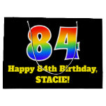 [ Thumbnail: 84th Birthday ~ Fun, Colorful, Vibrant, Rainbow 84 Gift Bag ]
