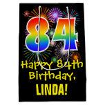 [ Thumbnail: 84th Birthday: Fun Fireworks Pattern + Rainbow 84 Gift Bag ]
