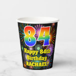 [ Thumbnail: 84th Birthday: Fun Fireworks Pattern + Rainbow 84 ]