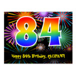 [ Thumbnail: 84th Birthday – Fun Fireworks Pattern + Rainbow 84 Postcard ]