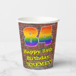 [ Thumbnail: 84th Birthday: Fun Graffiti-Inspired Rainbow 84 ]