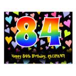 [ Thumbnail: 84th Birthday: Fun Hearts Pattern, Rainbow 84 Postcard ]