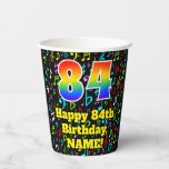 [ Thumbnail: 84th Birthday: Fun Music Notes Pattern, Rainbow 84 ]