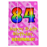 [ Thumbnail: 84th Birthday: Fun Pink Hearts Stripes; Rainbow 84 Gift Bag ]