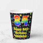 [ Thumbnail: 84th Birthday: Fun Stars Pattern and Rainbow 84 ]