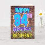 [ Thumbnail: 84th Birthday - Fun, Urban Graffiti Inspired Look Card ]