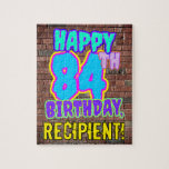 [ Thumbnail: 84th Birthday ~ Fun, Urban Graffiti Inspired Look Jigsaw Puzzle ]