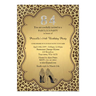 84th Birthday invitation, numbers diamonds,Cheetah Card