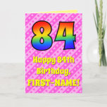 [ Thumbnail: 84th Birthday: Pink Stripes & Hearts, Rainbow # 84 Card ]
