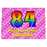 [ Thumbnail: 84th Birthday: Pink Stripes & Hearts, Rainbow # 84 Gift Bag ]