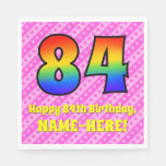 [ Thumbnail: 84th Birthday: Pink Stripes & Hearts, Rainbow # 84 Napkins ]