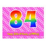 [ Thumbnail: 84th Birthday: Pink Stripes & Hearts, Rainbow 84 Postcard ]