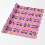 [ Thumbnail: 84th Birthday: Pink Stripes & Hearts, Rainbow # 84 Wrapping Paper ]