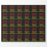"[ Thumbnail: 84th Birthday: Red Digital Clock Style ""84"" + Name Wrapping Paper ]"