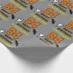 [ Thumbnail: 84th Birthday: Spooky Halloween Theme, Custom Name Wrapping Paper ]
