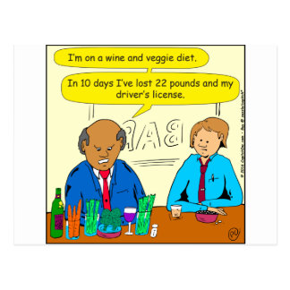 850 wine and veggie diet cartoon postcard