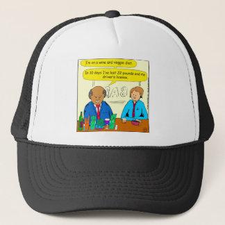 850 wine and veggie diet cartoon trucker hat