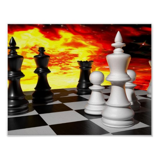 -851253 FUTURISTIC CHESS GAME FIRE BACKGROUND WALL POSTER