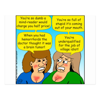 858 angry sisters arguing cartoon postcard