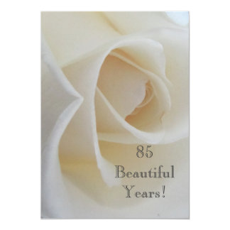 85 BeautifulYears Birthday Celebration/White Rose Personalized Announcement