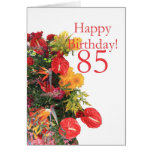 85 th birthday red yellow bouquet cards