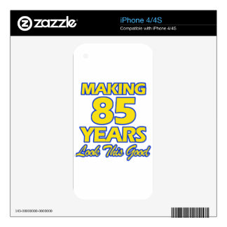 85 YEARS OLD BIRTHDAY DESIGNS DECALS FOR THE iPhone 4S