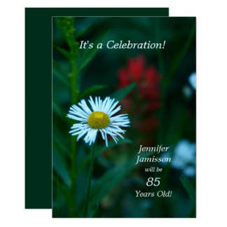 85 Years Old Birthday Party Invites White Flower