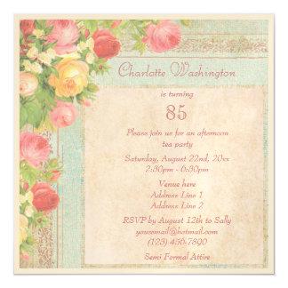 85a fiesta de cumpleaños de los rosas elegantes invitaciones magnéticas