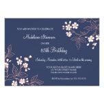 85as invitaciones florales coralinas azules de la
