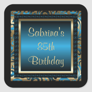 85o Azul del texto el | de la fiesta de cumpleaños Pegatina Cuadrada