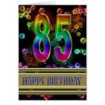 85o Cumpleaños con las burbujas y los fuegos Tarjeta De Felicitación
