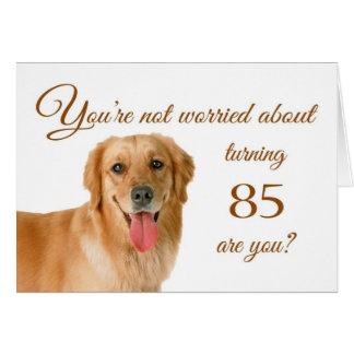 85o cumpleaños feliz, laboratorio preocupante tarjeta de felicitación