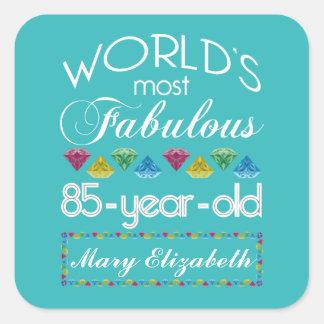 85o Cumpleaños la mayoría de la turquesa colorida Pegatina Cuadrada