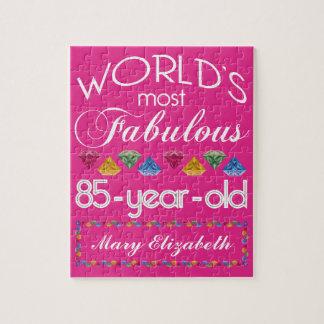 85o Cumpleaños la mayoría del rosa colorido Puzzle