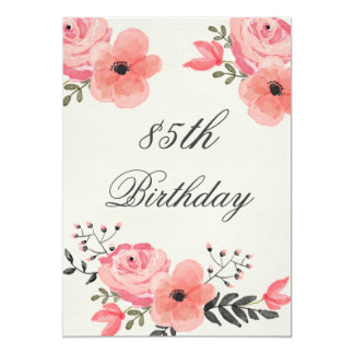 85o Flores elegantes de la acuarela del cumpleaños Invitación 12,7 X 17,8 Cm