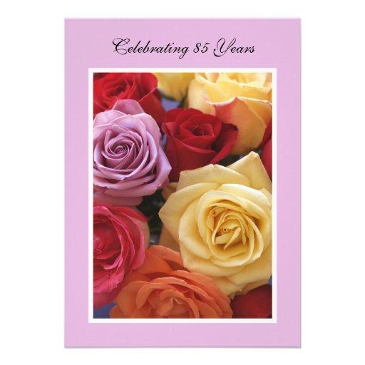 85o Invitación de la fiesta de cumpleaños -- Rosas