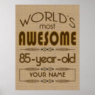 85o Mundo de la celebración del cumpleaños mejor f Póster