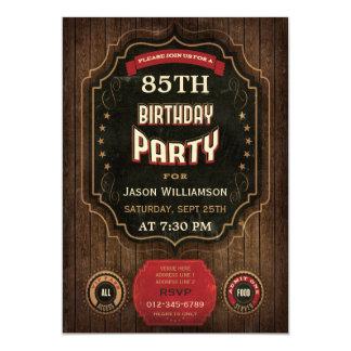 85o Pizarra y madera del vintage del cumpleaños Invitación 12,7 X 17,8 Cm