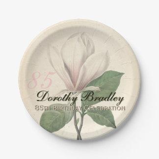 85o Placas de papel de la magnolia del vintage de Plato De Papel 17,78 Cm