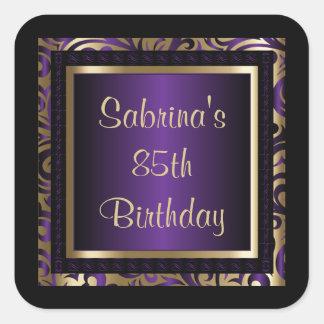 85o Púrpura del texto el | de la fiesta de Pegatina Cuadrada